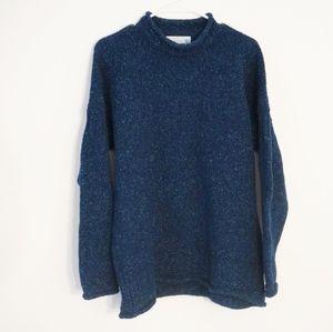 IRELANDS EYE Wool Blue Mock Neck Pullover Sweater